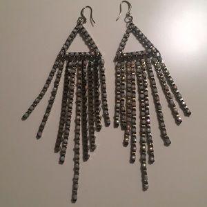 Iridescent shoulder duster earrings